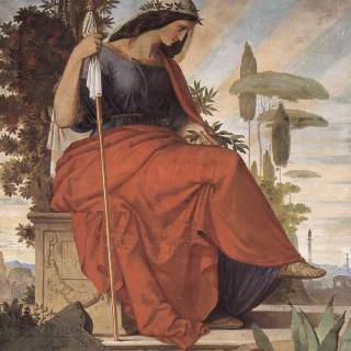 옛 슈테델 미술관에 있던 벽화, 왼쪽 그림 : 이탈리아를 상징하는 우의적 인물