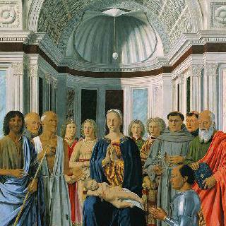 왕좌에 앉아 있는 성모와 성인들 및 기부자 페데리코 다 몬테펠트로