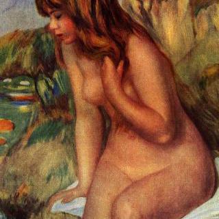 바위에 앉아 있는 욕녀 (浴女)