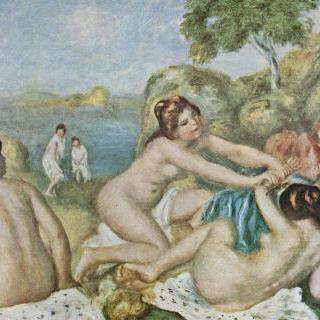게를 들고 장난치는 세 명의 목욕하는 소녀