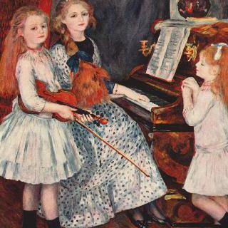 피아노 곁에 있는 카튈 망데스의 딸들의 초상
