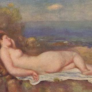 바닷가에서 잠자는 여인