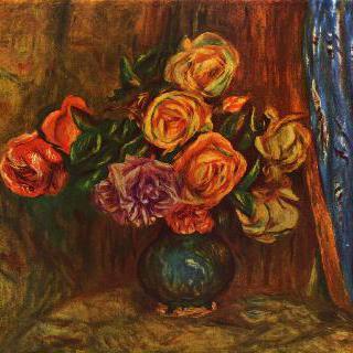 정물, 파란 커튼 앞의 장미