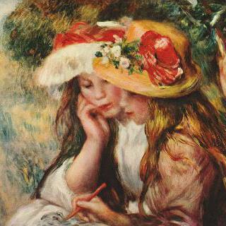 정원에서 책을 읽는 두 소녀