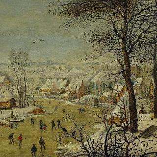 새 덫이 있는 겨울 풍경