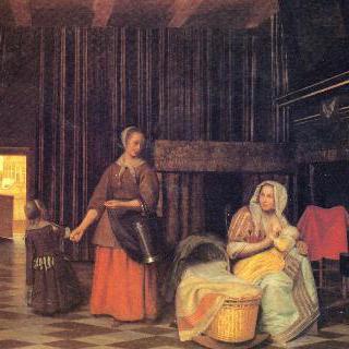 젖을 먹이는 어머니와 아이를 데리고 있는 하녀