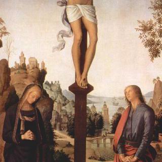 갈리친의 세폭화, 중앙 패널 : 십자가에 못 박힌 그리스도와 마리아, 복음서저자 성 요한
