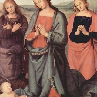 아기 그리스도에게 경배를 드리는 마리아, 복음서저자 성 요한과 성 마리아 막달레나