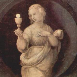 기본 덕목을 묘사한 프레델라 : 믿음 (피데스)과 두 천사