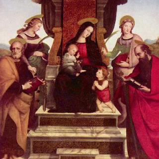 왕좌에 앉아 있는 마리아와 아기 그리스도, 아이 모습의 세례 요한