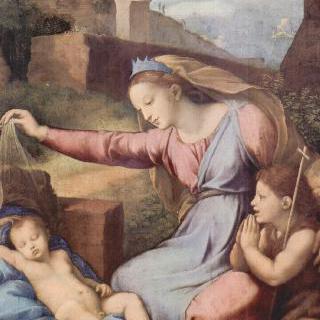 잠자는 아기 그리스도에게 경배를 드리는 마리아와 세례 요한 (왕관을 쓴 성모)