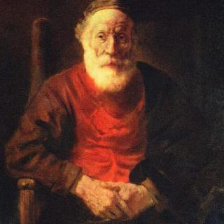 팔걸이의자에 앉아 있는 노인