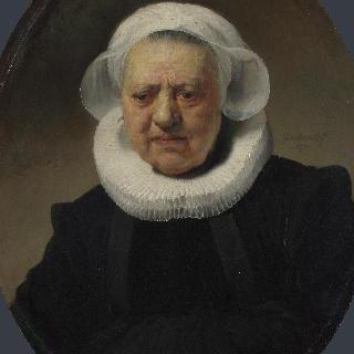 주름 옷깃을 하고 두건을 쓴 83세 여인의 초상