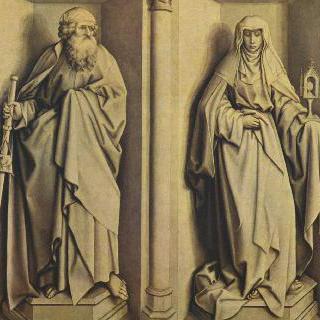 지팡이의 기적과 마리아의 결혼이 그려진 제단화, 뒷면 : 성 대 야곱과 성 클라라