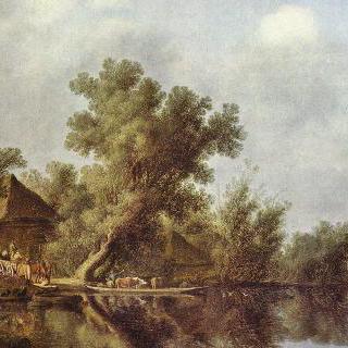 나룻배가 있는 강 풍경
