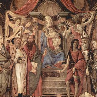 왕좌에 앉아 있는 성모, 네 천사와 성인들