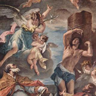 영광의 마리아와 대천사 가브리엘, 성 에우제비오, 성 세바스찬, 성 로코