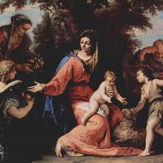 이집트로 피신하는 길의 휴식, 세례 요한과 성 엘리사벳과 천사와 함께