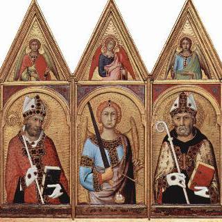 세 명의 성인들과 각각의 박공벽면에 그려진 천사들