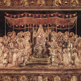 마에스타, 도시의 수호성인으로 왕좌에 앉아 있는 성모와 주위에 둘러선 성인들