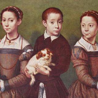 개를 안고 있는 세 아이