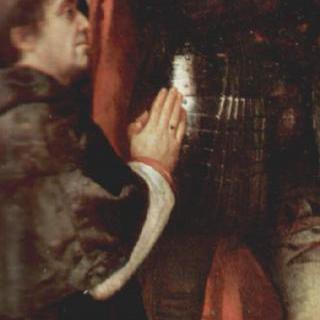 그리스도의 부활, 왼쪽 패널 하단 그림 : 성 나자루스와 성 첼소와 기도하는 기부자