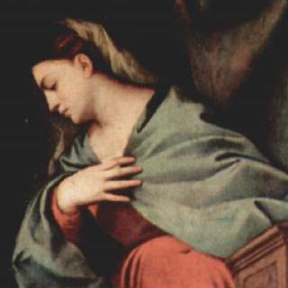 그리스도의 부활, 오른쪽 패널 상단 그림 : 수태고지의 마리아
