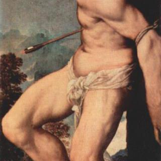 그리스도의 부활, 오른쪽 패널 하단 그림 : 성 세바스찬
