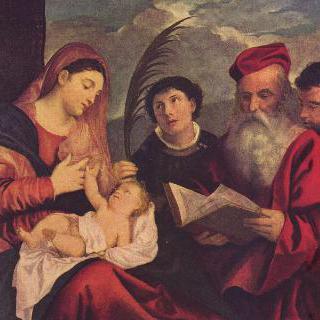 마리아와 아기 그리스도, 성 스테판, 성 히에로니무스, 성 마우리티우스