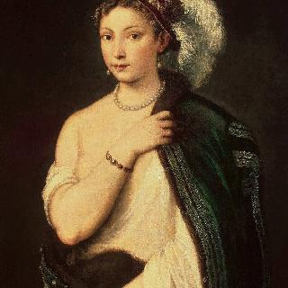 깃털장식 모자를 쓴 젊은 여인의 초상