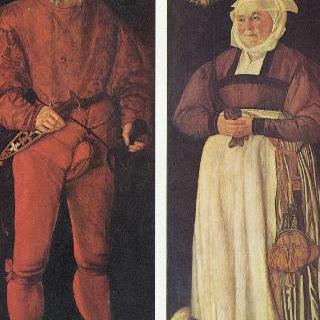취리히의 방기기사 (方旗騎士) 야코프 슈뷔처와 그의 부인 엘스베트 로흐만의 초상