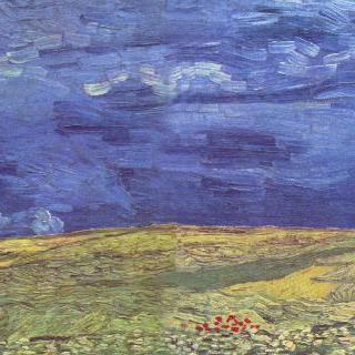 흐린 하늘을 배경으로 한 밀밭