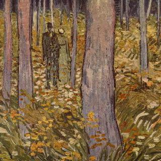숲을 산책하는 남녀