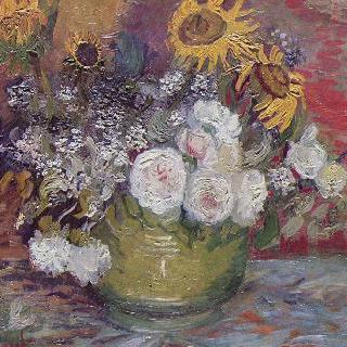 장미와 해바라기가 있는 정물