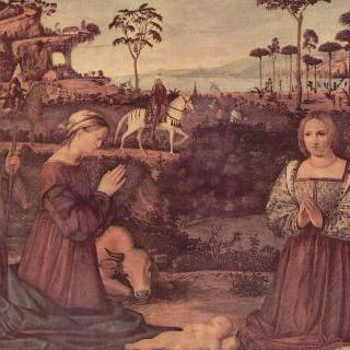 아기 그리스도에게 경배를 드리는 두 명의 기부자와 성 가족