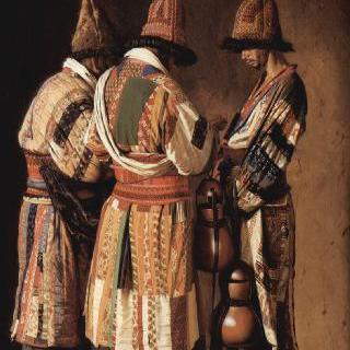 축제일 장식을 한 탁발수도사들
