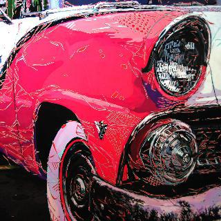 The pink car-front