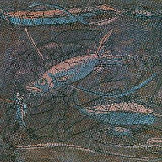 물고기와 노는 세 어린이