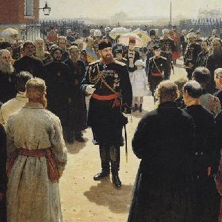 모스크바의 페트롭스키 궁전 뜰에서 농촌지역 원로들을 맞이하는 알렉산드르 3세