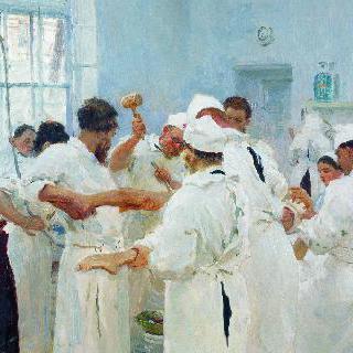수술실에 있는 외과의사 예브게니 바실리예비치 파블로프