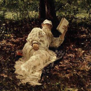 숲 속에서 쉬고 있는 레프 니콜라예비치 톨스토이