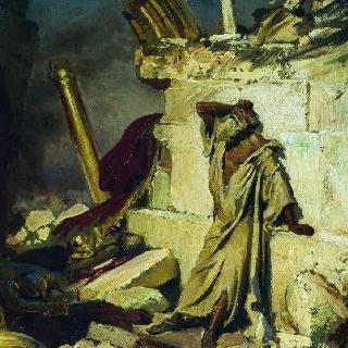 예루살렘의 폐허에서 우는 선지자 예레미야