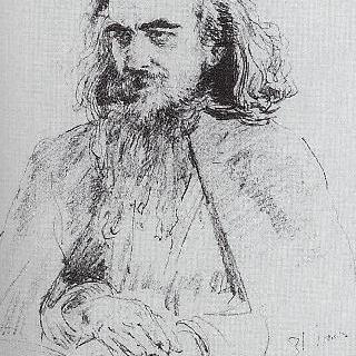 철학가, 작가 및 문학평론가 블라디미르 세르게예비치 솔로비요프의 초상