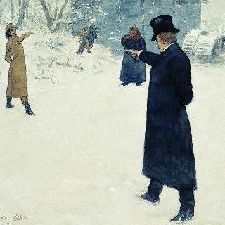 예브게니 오네긴과 블라디미르 렌스키의 결투. 삽화