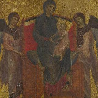 왕좌에 앉아 있는 성모와 아기 예수 및 두 천사