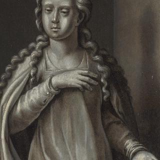 수태고지를 받는 성모 마리아 - 세폭화 오른쪽 날개의 뒷면
