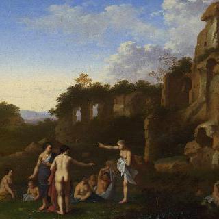 풍경 속에서 목욕하는 여인들