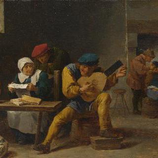 주막 안에서 음악을 연주하는 농부들