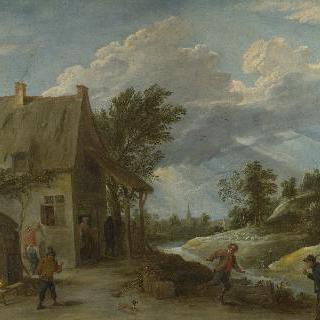 마을 주막 앞에서 볼스 놀이를 하는 농부들