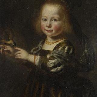되새와 함께 있는 헤이르트라위트 스피헐의 초상